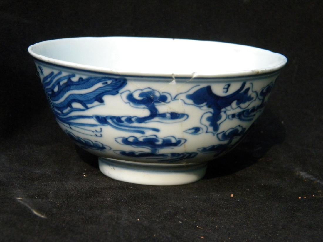 Antique Chinese Blue and White Pheonix Bowl - 2