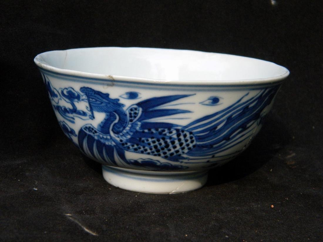 Antique Chinese Blue and White Pheonix Bowl - 3