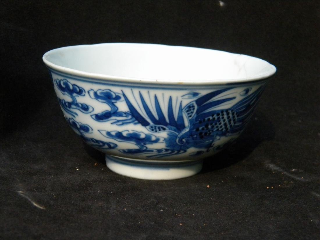 Antique Chinese Blue and White Pheonix Bowl - 5