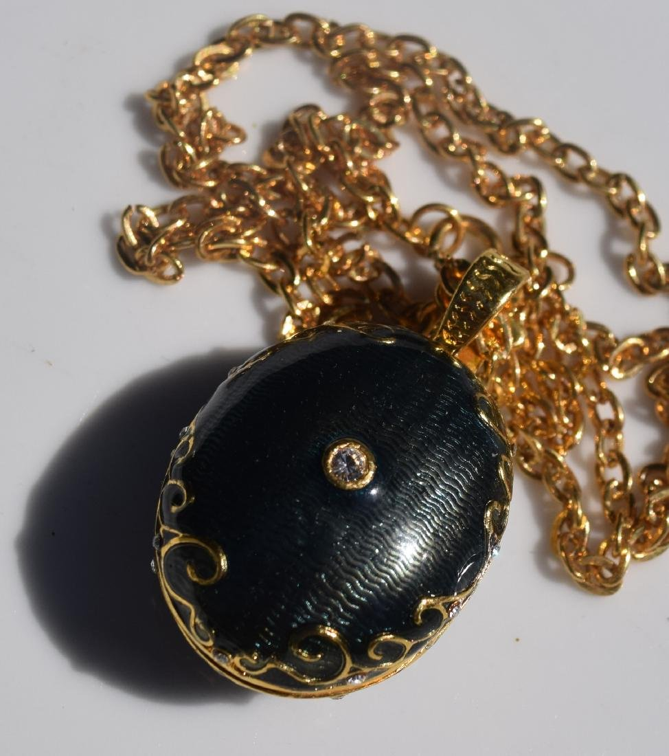 Vintage Enamel Pendant Necklace