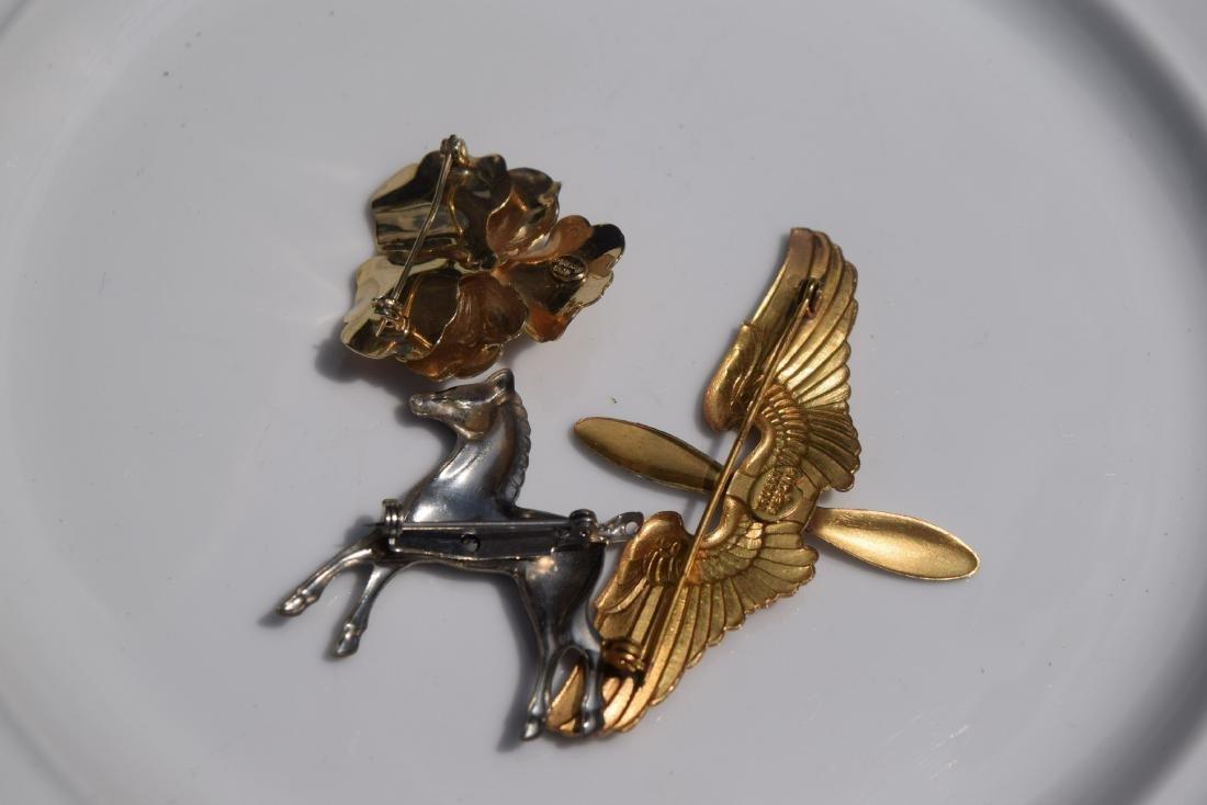 Three Silver Brooch Pins - 3