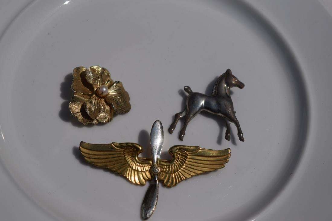 Three Silver Brooch Pins - 4