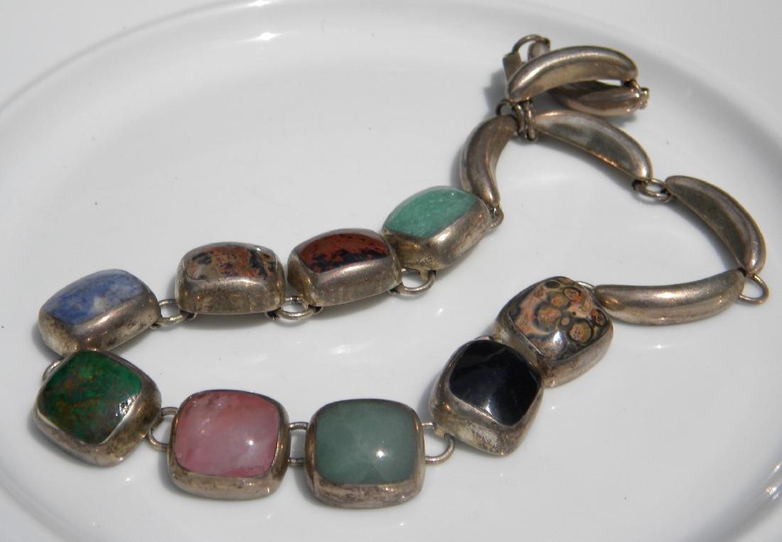 Vintage Sterling Silver Multi-stone Necklace