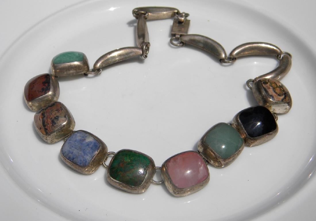 Vintage Sterling Silver Multi-stone Necklace - 2