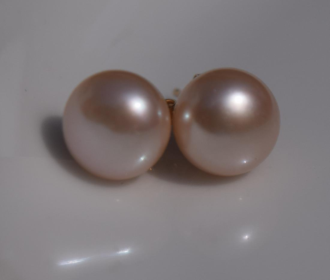Pair of 14K Gold Pearl Earrings - 2