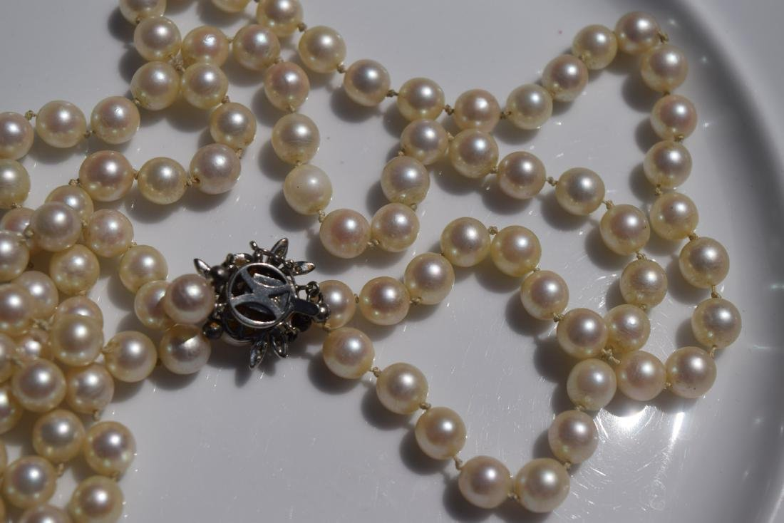 14K Gold Clasp Double Strings Natural Pearl Necklace - 2