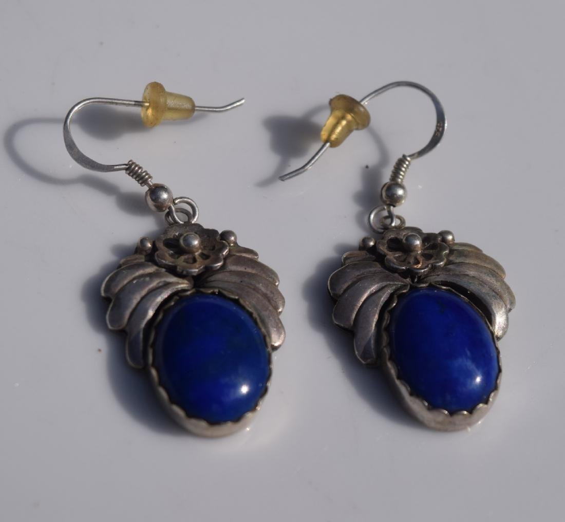 Pair of Sterling Silver Lapis Earrings - 2