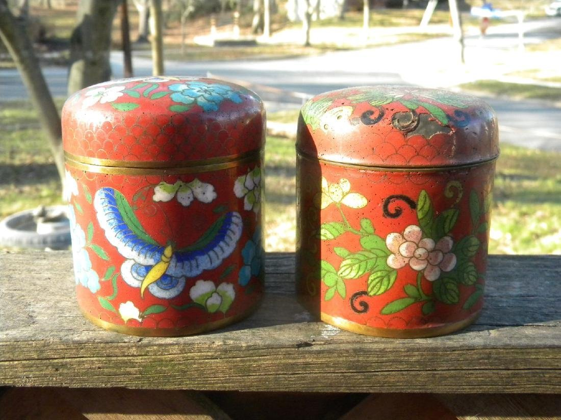 Pair of Red Cloisonne Tea Candy - 3