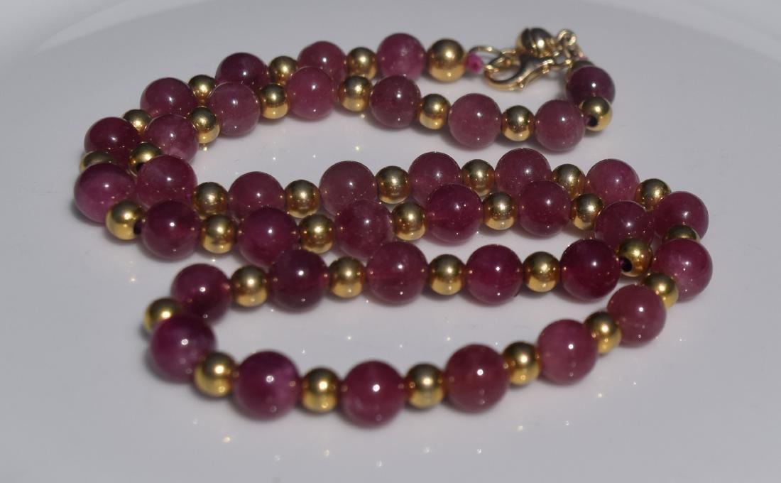 Vintage Pink Tourmaline Beads Necklace