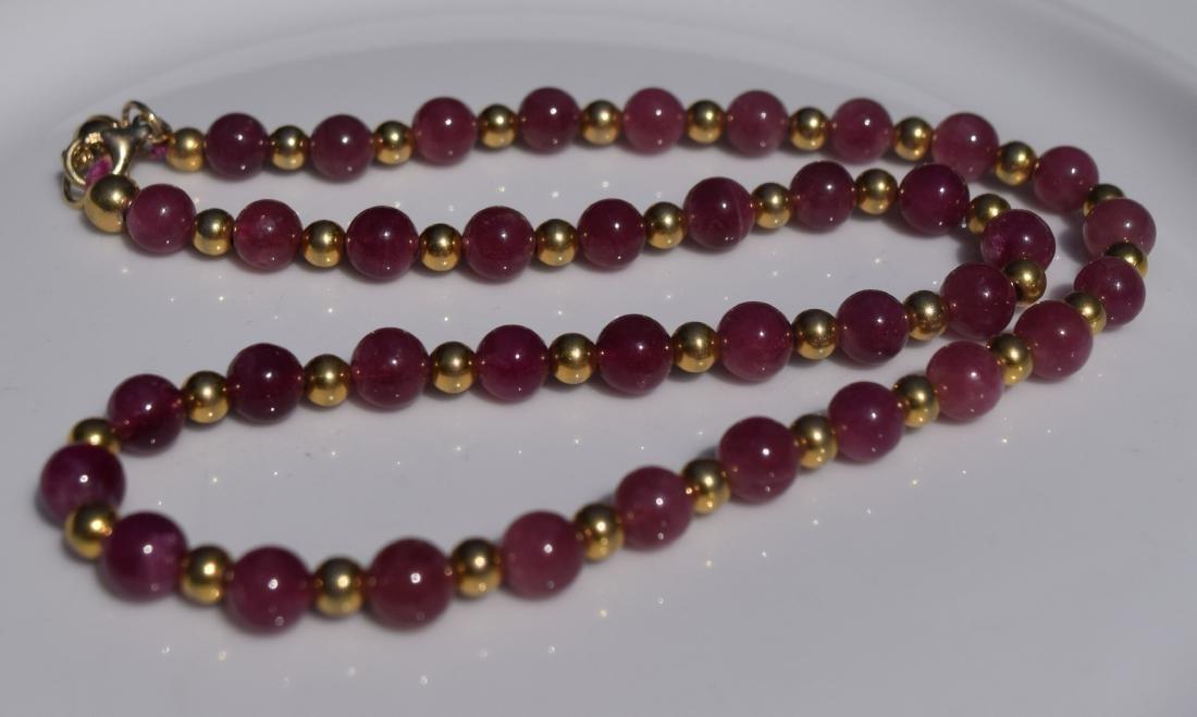 Vintage Pink Tourmaline Beads Necklace - 2