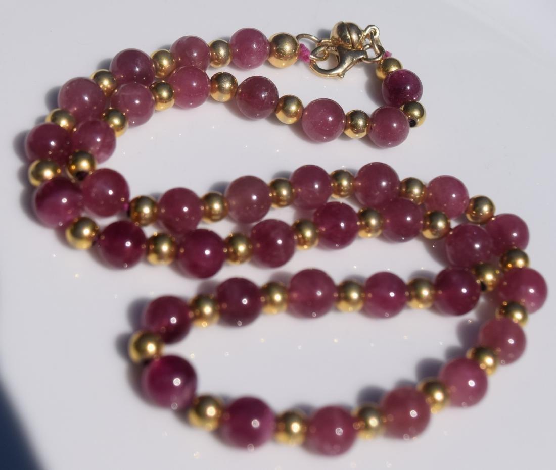 Vintage Pink Tourmaline Beads Necklace - 3