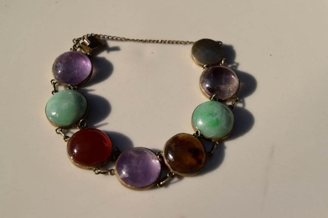 Antique Chinese Silver Jadeite, Carnelian Bracelet