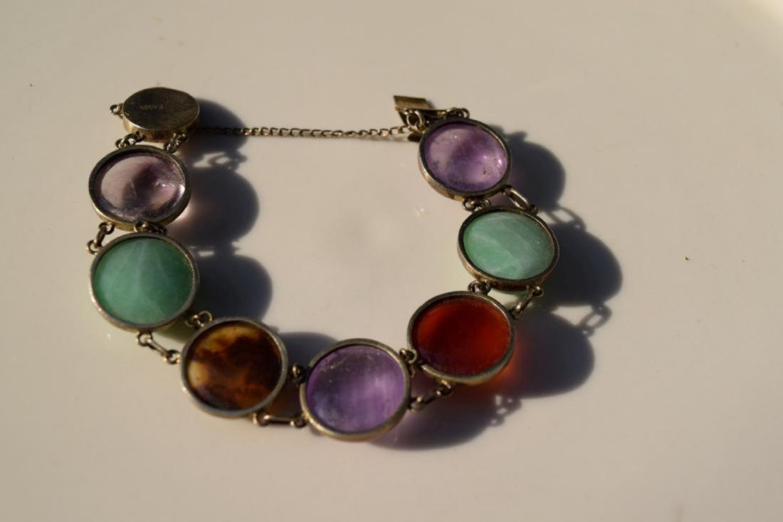 Antique Chinese Silver Jadeite, Carnelian Bracelet - 2