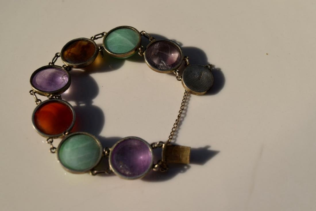 Antique Chinese Silver Jadeite, Carnelian Bracelet - 3