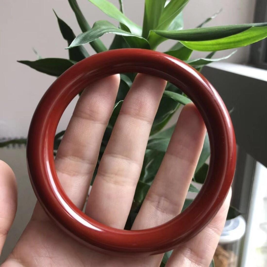 "Natural Red Coral Bangle Bracelet, inner diameter 2.25"""