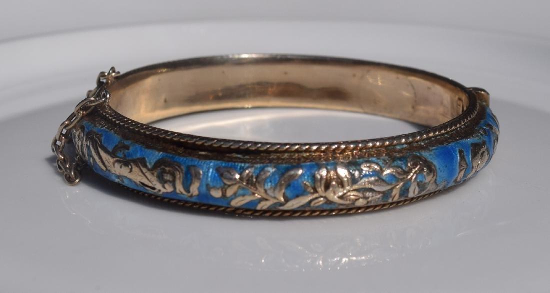 Antique Chinese Silver Enamel Bracelet Marked