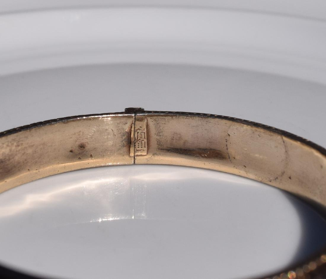 Antique Chinese Silver Enamel Bracelet Marked - 2