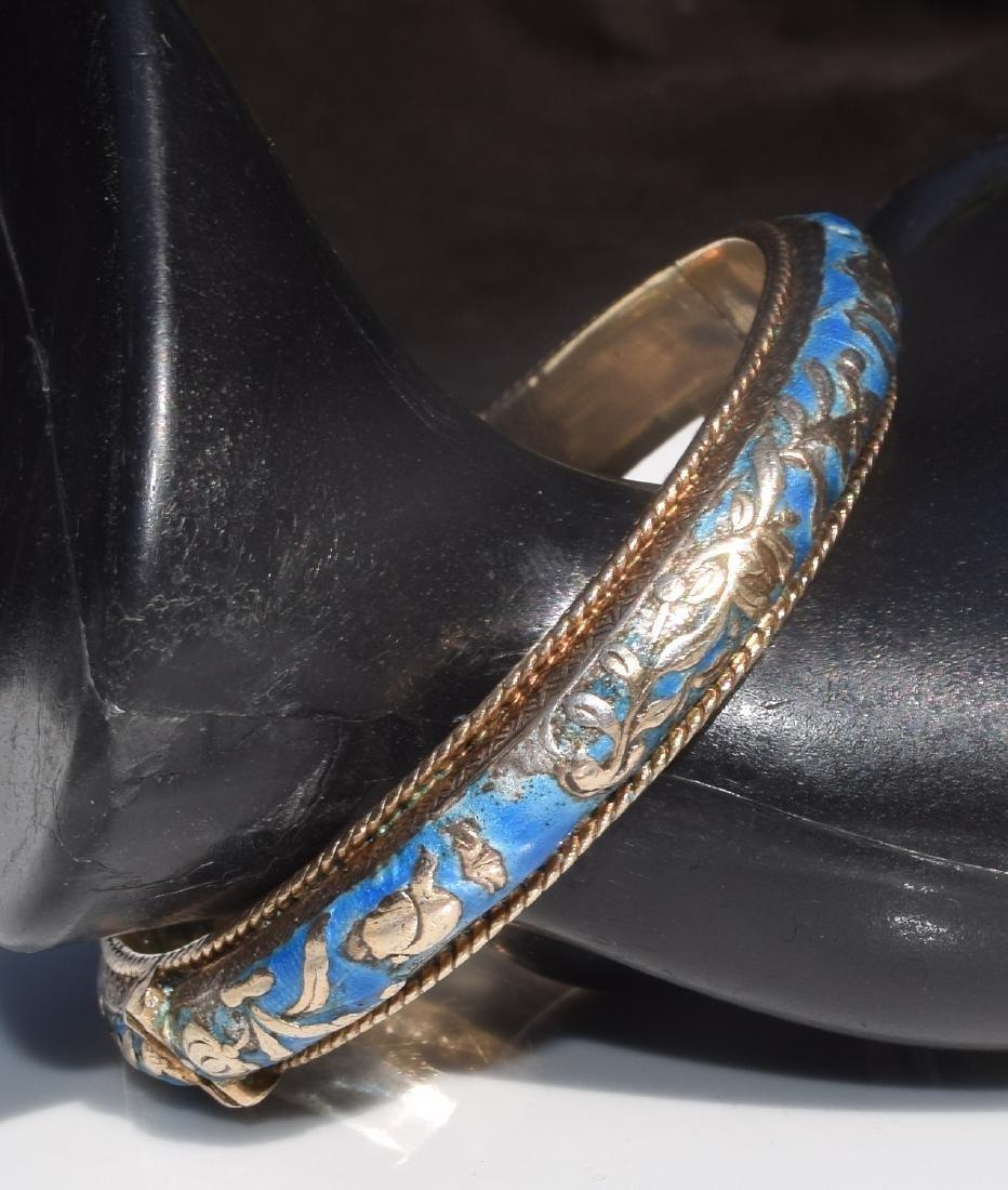 Antique Chinese Silver Enamel Bracelet Marked - 3