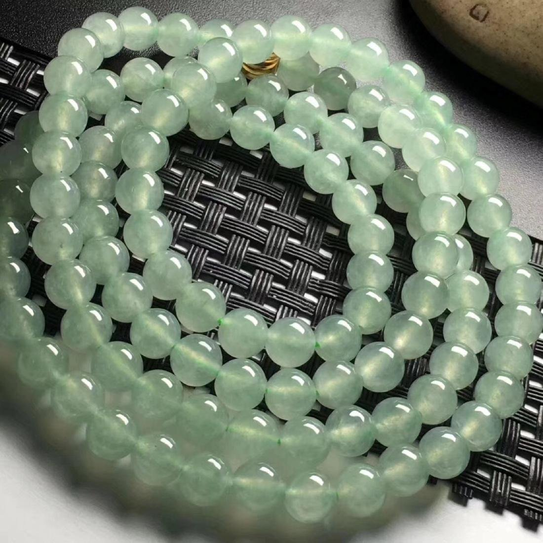 108 Natural Green Jadeite Bead Necklace