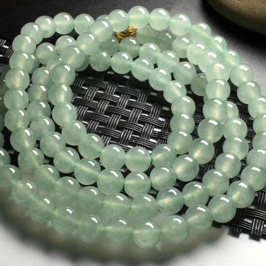 108 Natural Green Jadeite Bead Necklace - 2