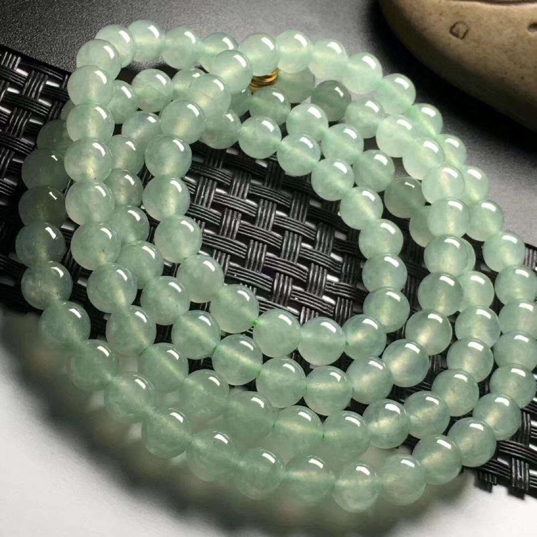 108 Natural Green Jadeite Bead Necklace - 4