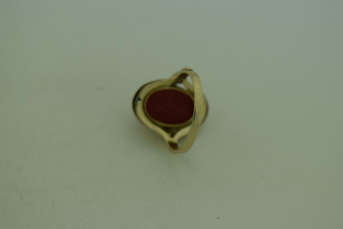 Vintage 8K Gold Red Coral Ring, size total: 20mm - 3
