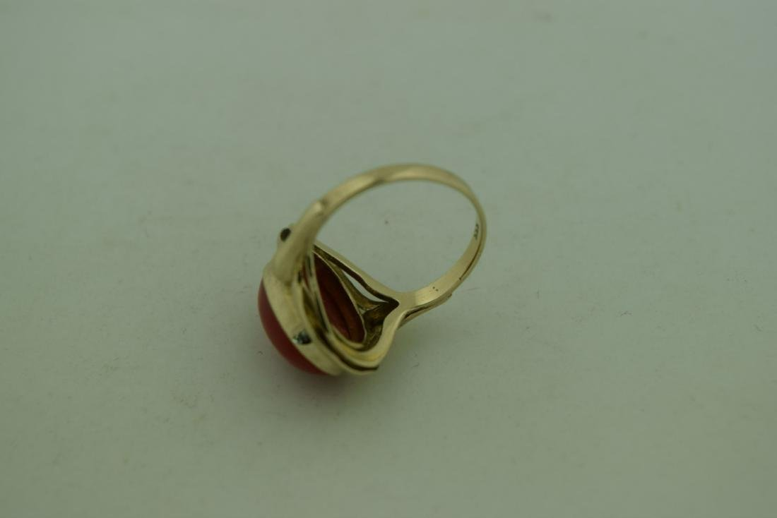 Vintage 8K Gold Red Coral Ring, size total: 20mm - 4