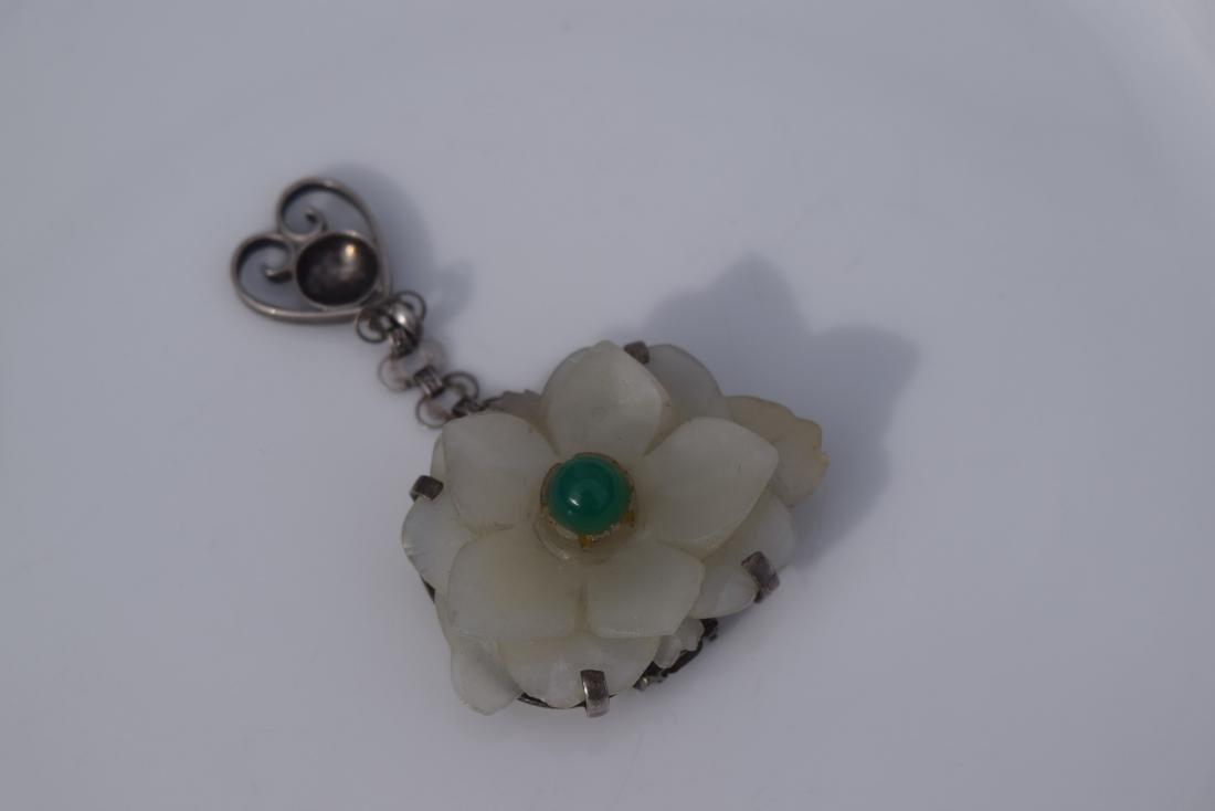 Antique Carved Nephrite Jade Flower Pendant Ming - 4