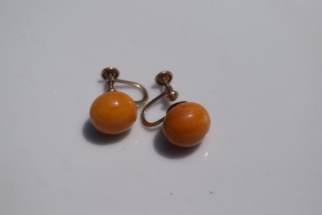 Pair of 10K Gold Butter Scotch Amber Earrings - 8