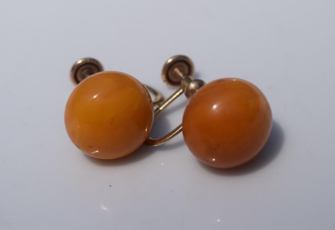 Pair of 10K Gold Butter Scotch Amber Earrings