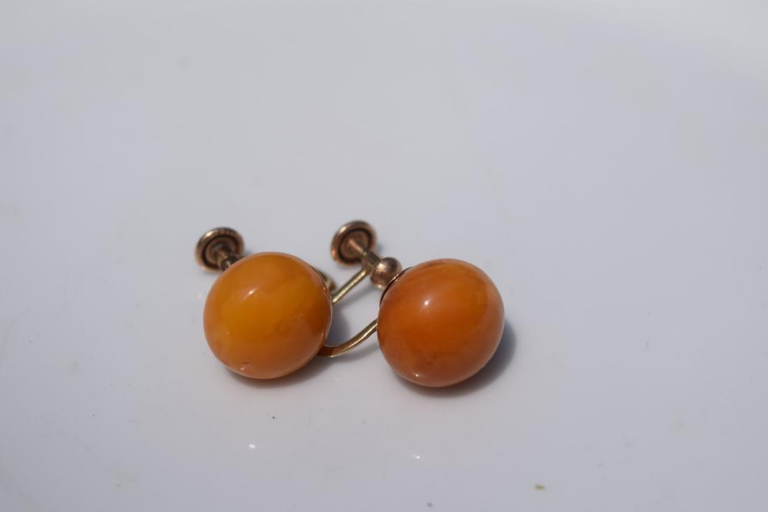 Pair of 10K Gold Butter Scotch Amber Earrings - 2