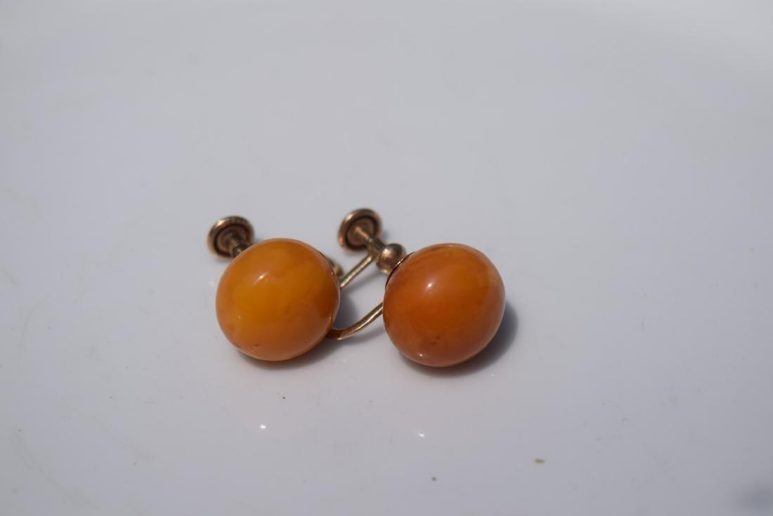 Pair of 10K Gold Butter Scotch Amber Earrings - 3