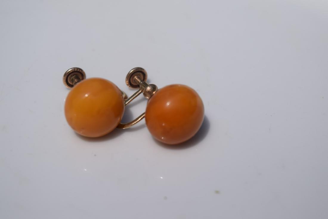 Pair of 10K Gold Butter Scotch Amber Earrings - 4