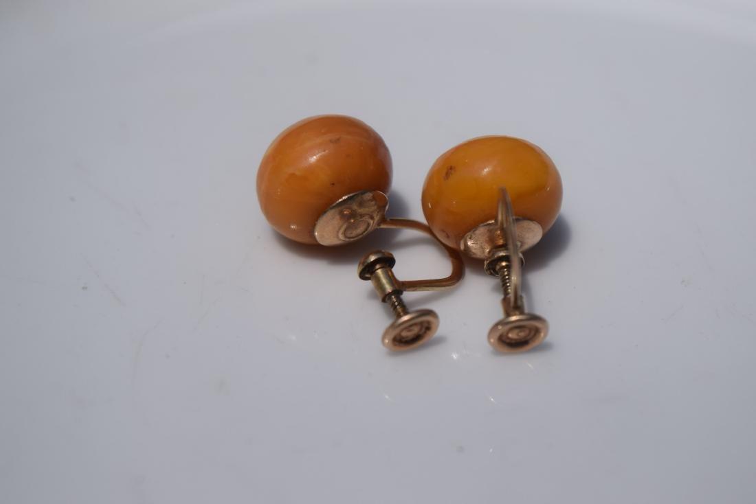 Pair of 10K Gold Butter Scotch Amber Earrings - 5