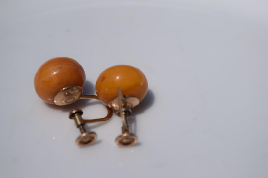 Pair of 10K Gold Butter Scotch Amber Earrings - 6