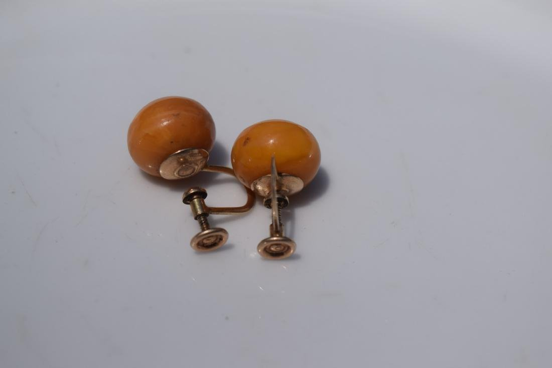 Pair of 10K Gold Butter Scotch Amber Earrings - 7