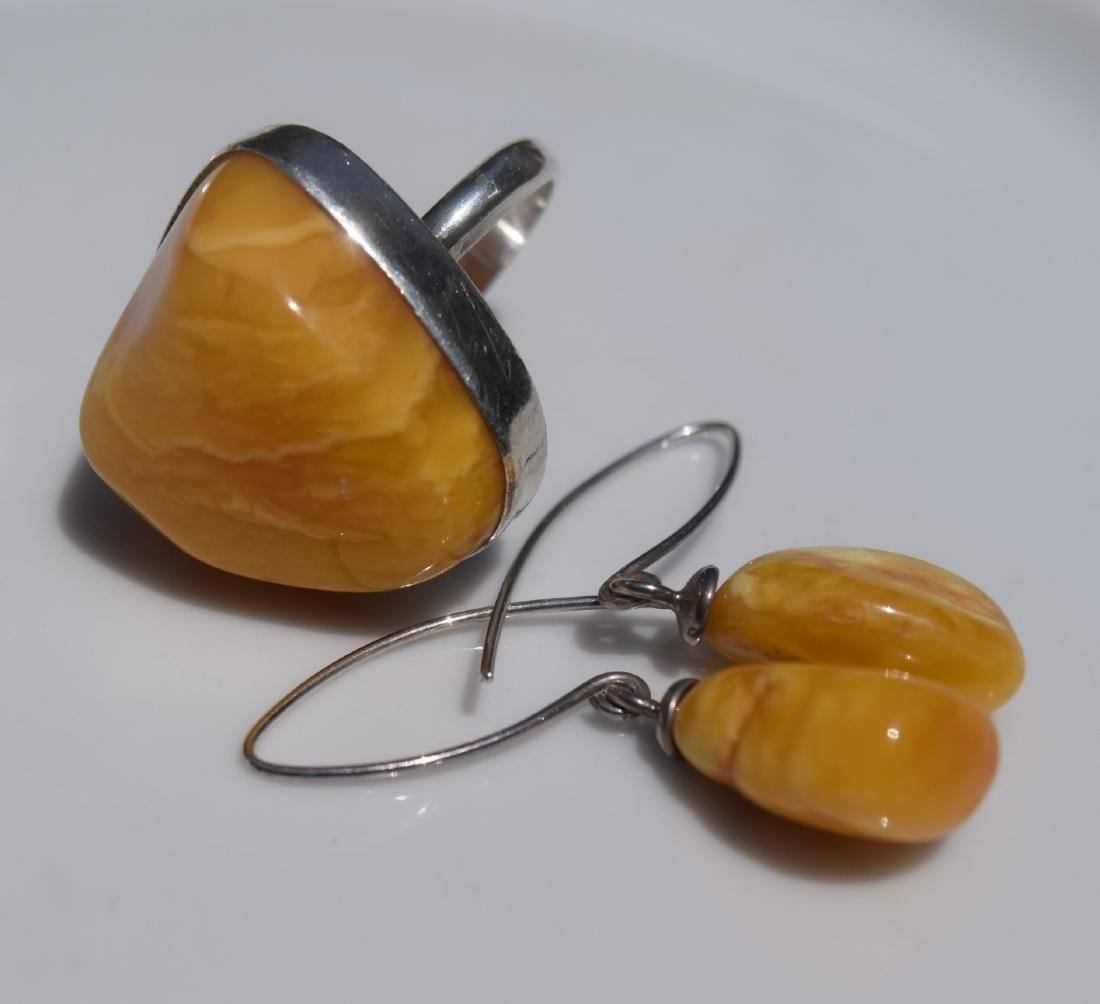 Set of Butter Scotch Amber Silver Ring and Earrings - 3