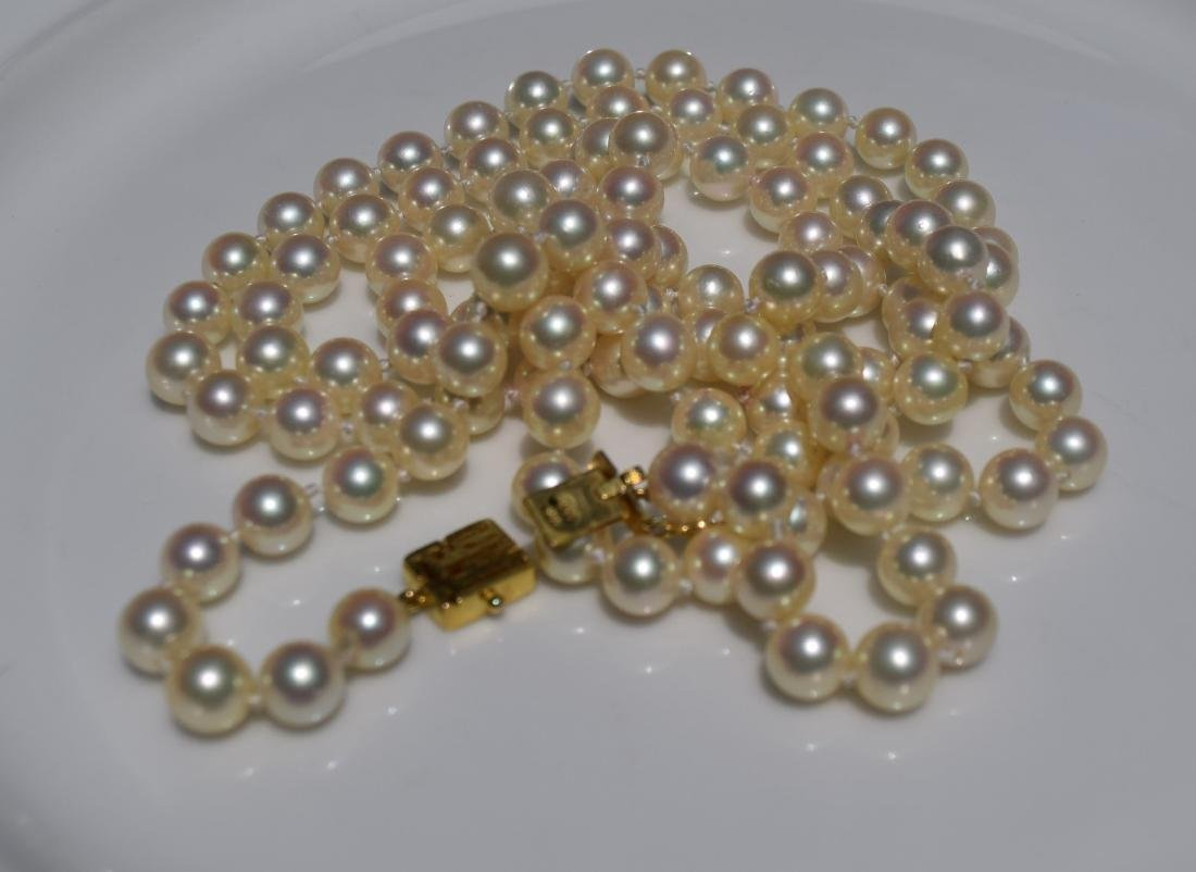 Vintage 14K Gold Clasp Pearl Necklace - 3