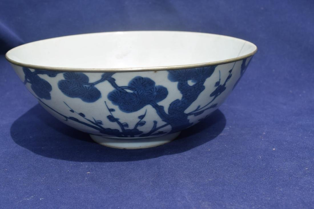 A Blue and White Plum Tree and Peom Bowl Kang Xi Period - 2