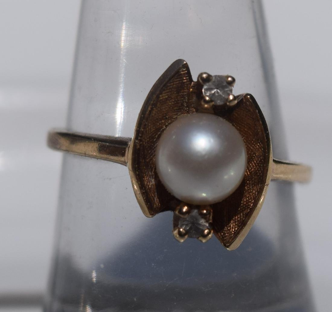 Antique 10K Gold Pearl Diamond Ring, Marked 10K