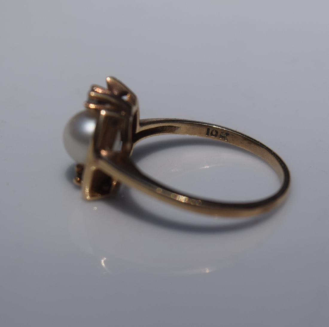 Antique 10K Gold Pearl Diamond Ring, Marked 10K - 3
