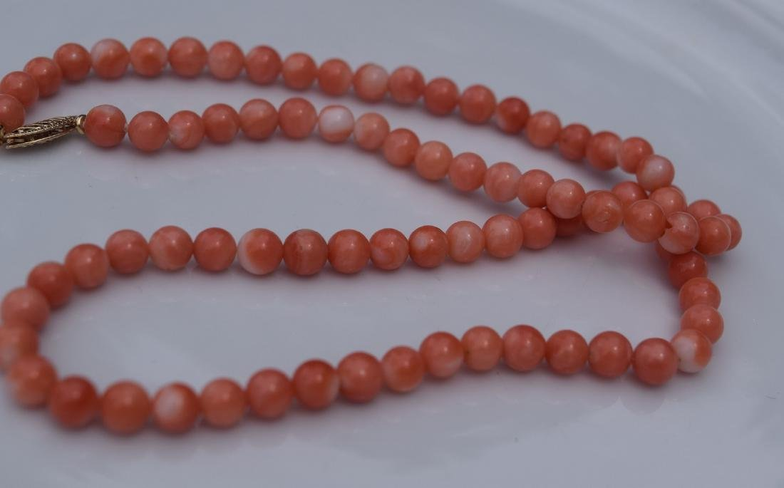 Vintage Coral Necklacve with 14K Gold Bale - 2