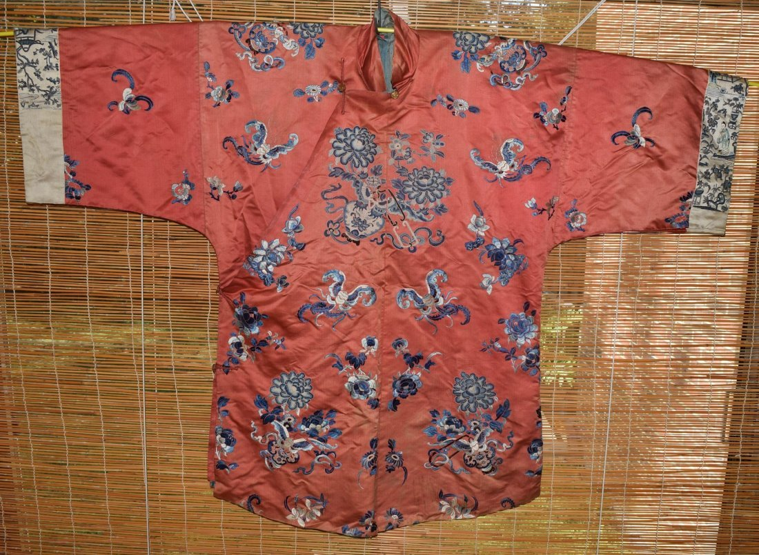 A Red Embroidered Silk Flower Lady's Robe, Qing Dynasty