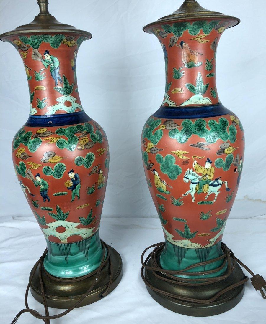 Pair of Antique Red Glazed Vases