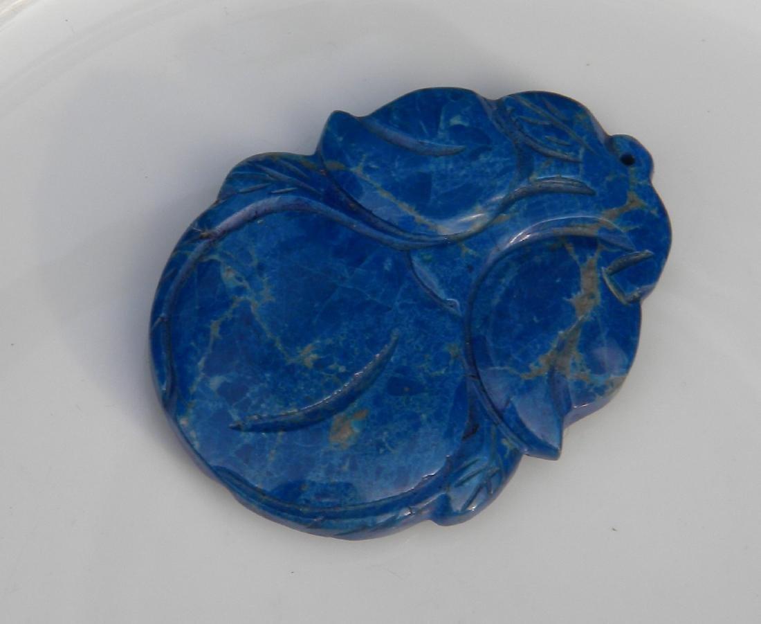 Vitnage Carved Lapis Pendant