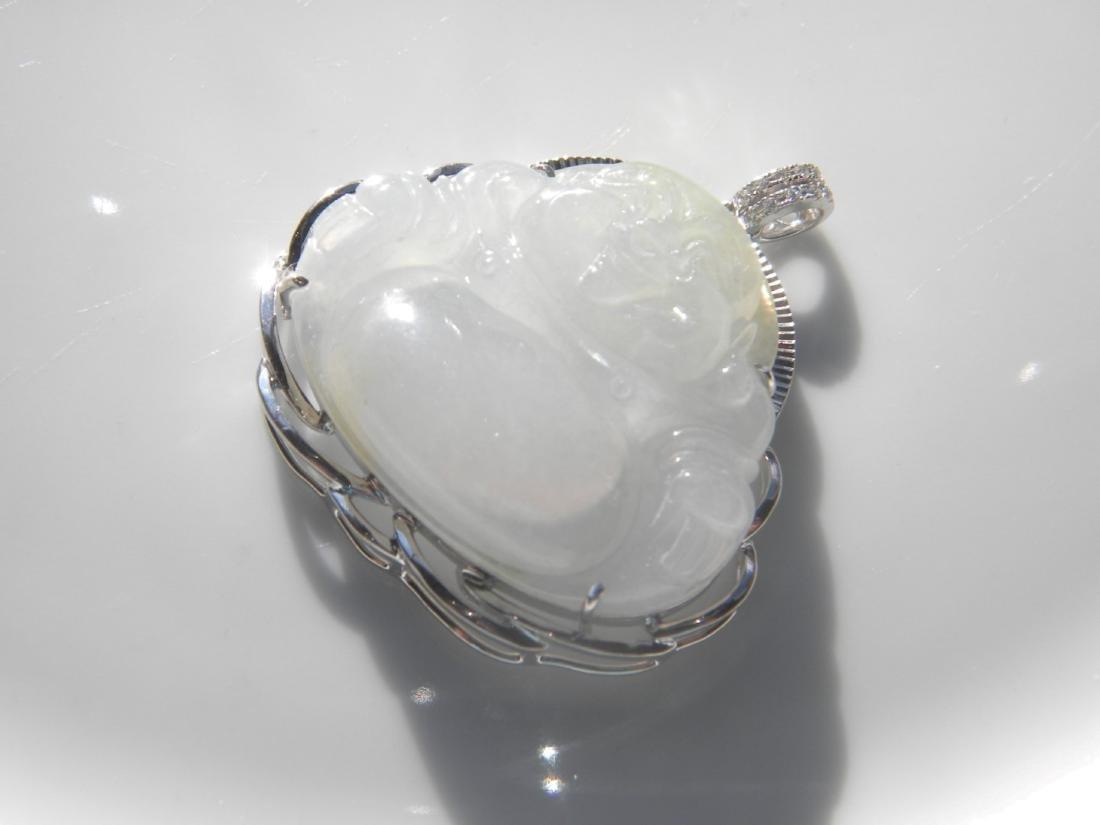 Natural Jadeite Buddha Pendant - 3