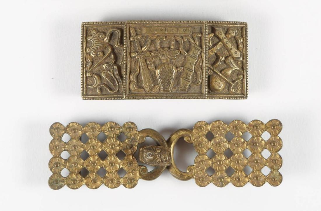 Pair of Antique Chinese Gilt Bronze Belt Buckles