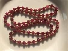 14K Yellow Gold Tourmaline Beads Necklace