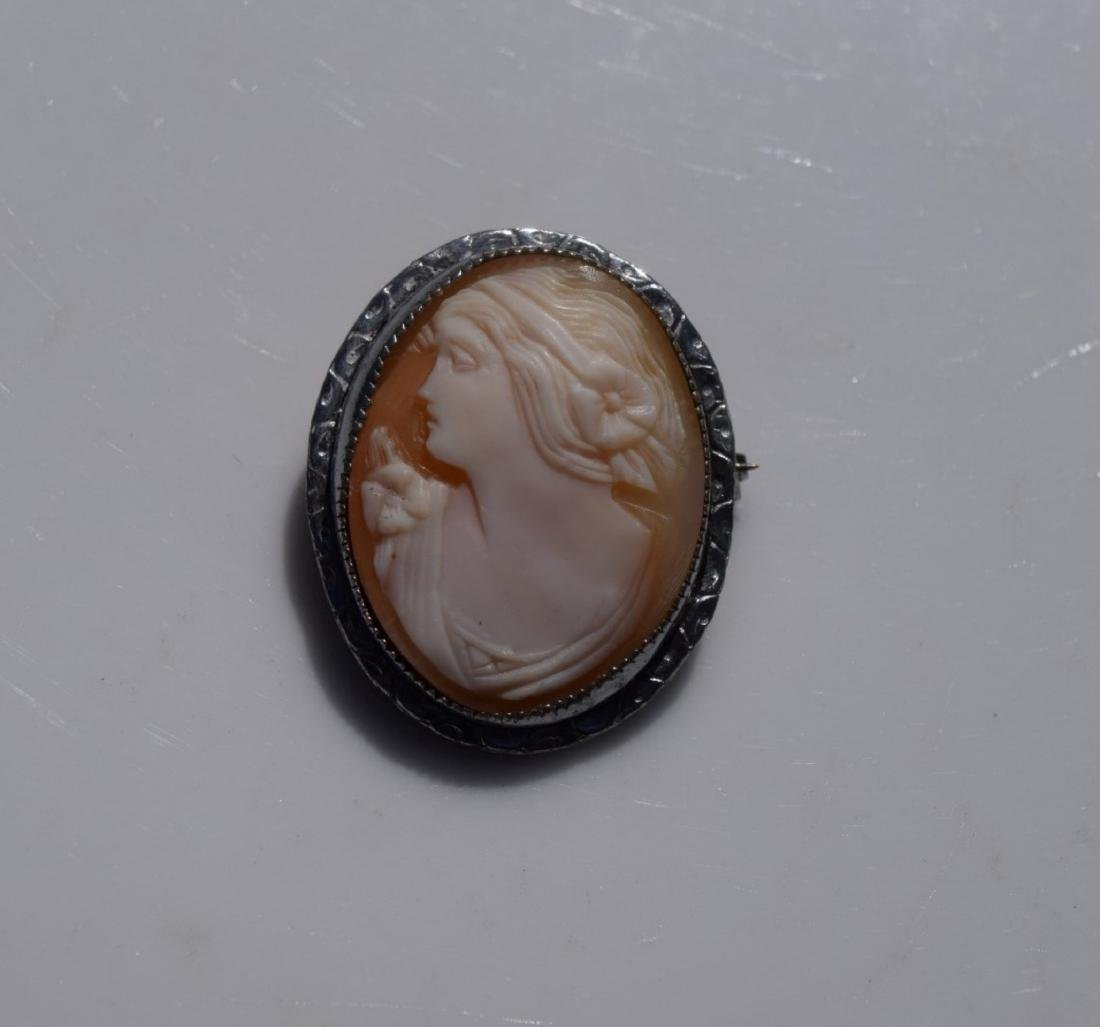Vintage Sterling Silver Cameo Brooch Pin