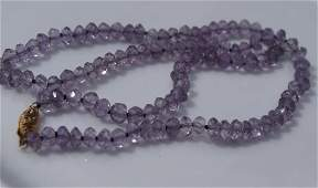 Vintage 14K Gold Bale Amethyst Beads Necklace